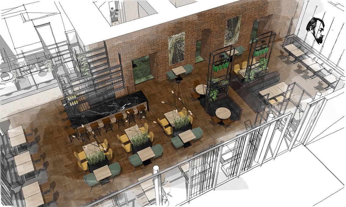 Schets-Tekening-restaurant-Daisy-Heuvel-Zakelijk-Ontwerp
